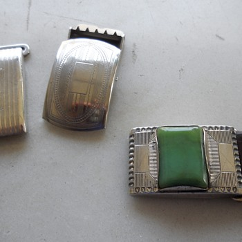 "1"" wide silver buckle slides circa 50's-60's"