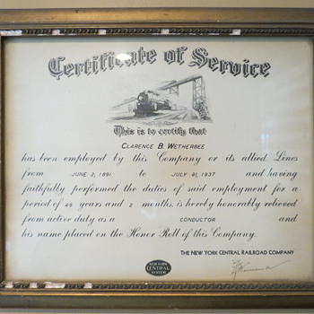 New Your Central certificate of service 1891-1934. - Railroadiana