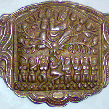 PURE SILVER AMULET OF KRISHNA DARBAR VERY RARE - Asian