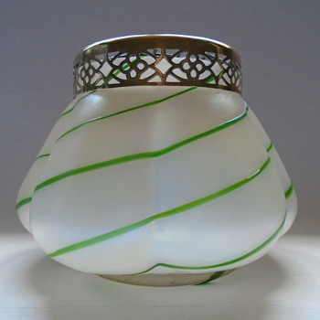 Kralik MOP Rose Bowl with Green Glass Trails