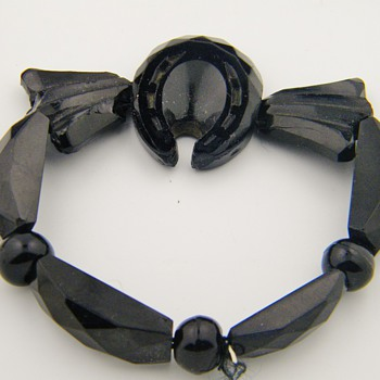 Antique Victorian Mourning Carved Onyx Horseshoe Stretch Bracelet - Fine Jewelry