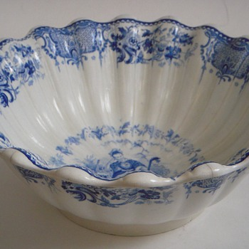 Heavy Old Bowl~White with Blue Oriental Themed Design~Large &amp; Fluted