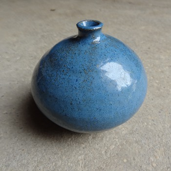 Blue glaze bud vase - Art Pottery