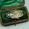 Large Victorian Silver, Gold & Opal Cicada Brooch