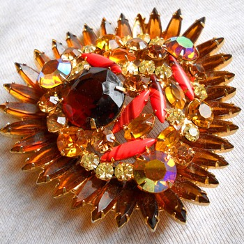 Huge Juliana Style Brooch - Costume Jewelry