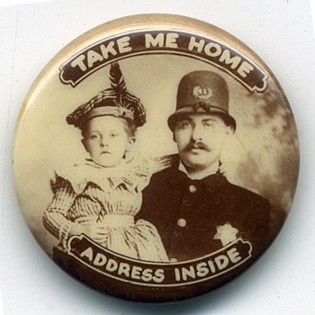 Turn of Century Lost Child ID Pinback Button. - Advertising