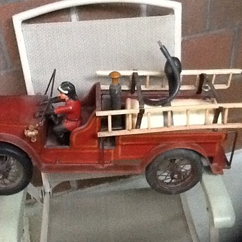 Vintage large wood and steel fire truck (1930's ?)