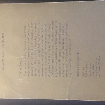 Ronald reagan invitation and signatures