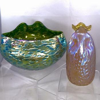 """Loetz Crete Diaspora Bowl & Candia """"Bag"""" Diaspora Vase"""