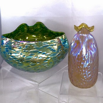 "Loetz Crete Diaspora Bowl & Candia ""Bag"" Diaspora Vase - Art Nouveau"