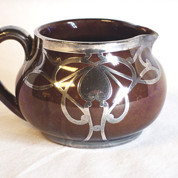 Art Nouveau, Sterling Overlay Creamer Pottery,late 19, early 20 century