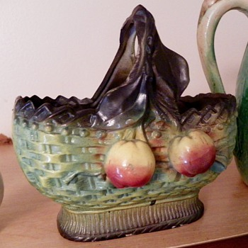 Antique porcelain basket w/ fruit
