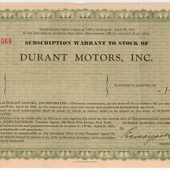 1931 Durant Motors Stock Subscription Warrant - Paper
