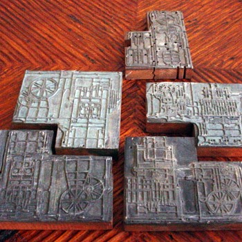 1826 Industrial Revolution Machine Lead Stamp Print blocks  - Office