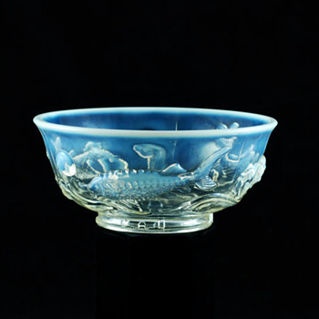 Opalescent Pressed Glass Bowl with Molded Fish Design - Glassware