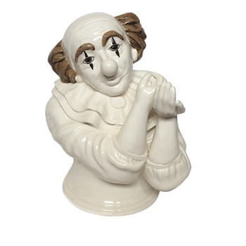 Ceramic Clown Bust Applying Makeup Signed Henry