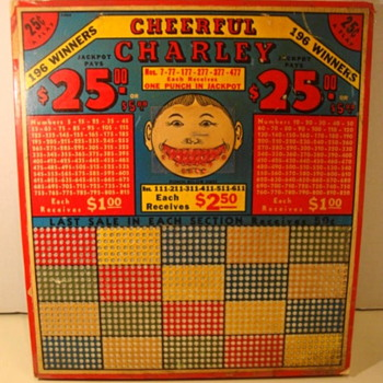 CHEERFUL CHARLEY PUNCH BOARD--12X14 large Size, .25 cents a punch. 194os?? - Games