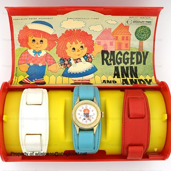 1971 Raggedy Ann & Andy Bradley Wrist Watch Set - Wristwatches