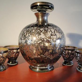 Decanter and goblets with sterling overlay