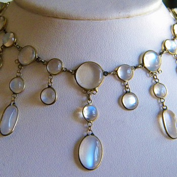 Antique Victorian Ceylong Moonstone Festoon Garland 9ct Necklace