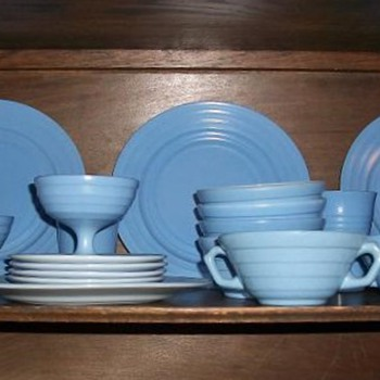 Blue Moderntone Platonite set from Hazel Atlas, 1936-53? - Glassware
