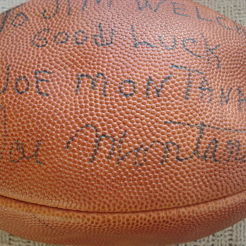 Help ~ Unusual Early Joe Montana Signed Football  - Football