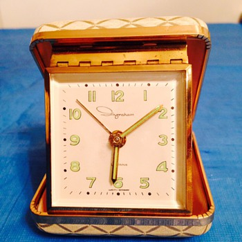 Ingraham Travel Alarm Clock  Originally Purchased on USS LATIMER  PX - Clocks