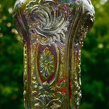Imperial Glass Smoky/Purple Scroll and Flower Panel Vase,Unmarked
