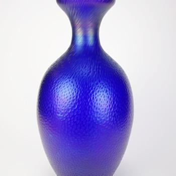 KRALIK (?) COBALT MARTELE VASE - Art Glass
