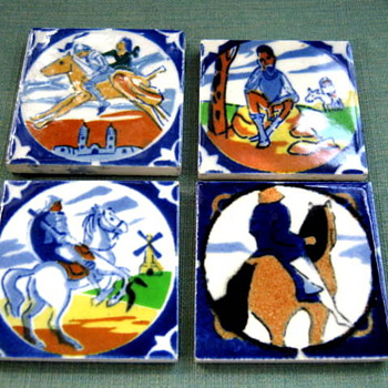 4 Little Handpainted Tiles...Who, What, Where, When..Don Quixote