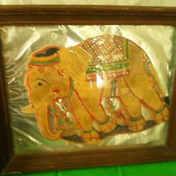 very old...portrait of elelphant made out of elephant skin - Animals