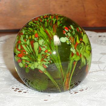 Green w/ Flowers Paperweight - Art Glass