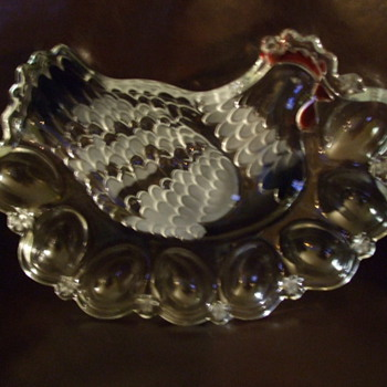 "My Wife's Favorite ""CHICKEN"" Deviled Egg Glass Platter - Who Made It?"