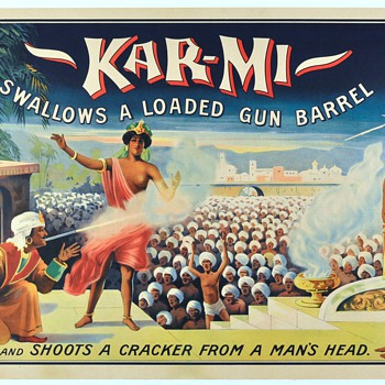 Original 1914 Kar-Mi &quot;Gun Barrel&quot; Stone Lithograph Poster