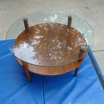 midcentury 2 tier coffee table. glass and wood with brass finials - Mid Century Modern
