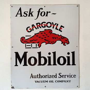 Ask for ~ Gargoyle Mobiloil Sign from the 1920&#039;s - Petroliana