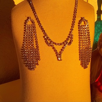 Grandma's 1950s Rhinestone Necklace & My Flea Market Chandelier Earrings - Costume Jewelry
