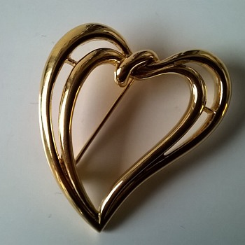 Trifari Double Heart Brooch, 1980-1999, Thrift Shop Find - Costume Jewelry