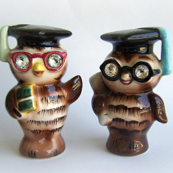 ShakeThatThang's Lefton Wise Owl Salt and Pepper Shakers, Sparkle Eyes