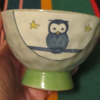 Little pottery bowl with owls