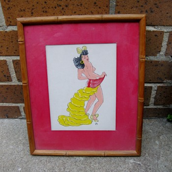 1940's dancer watercolor guache from Mexico - Visual Art