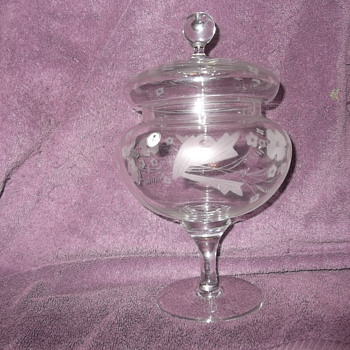 Romanian Glass etched candy dish