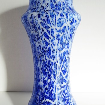 Unknown white & cobalt blue glass vase