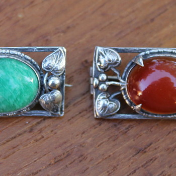 Two similar brooches, Arts and Crafts style