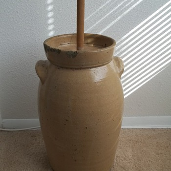 Stoneware Butter Churn. &quot;4&quot;