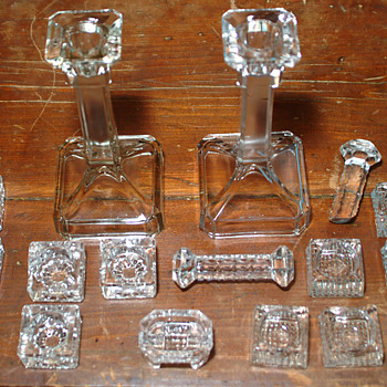 Glass candlestick and others