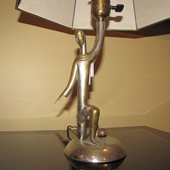 RARE ART DECO SILVERED BRONZE HAGENAUER LAMP