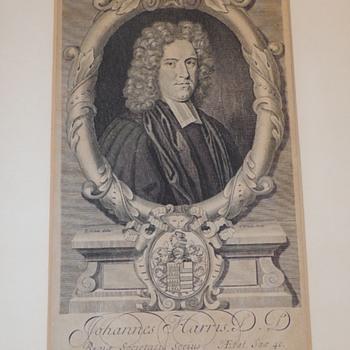 R. & G. White Etching - JOHANNES HARRIS D.D. Regia Societatis Socius - Ætal. Sua' 40.  - c. 1706