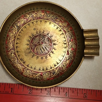 Painted Brass Incense Burner/Ash Tray India