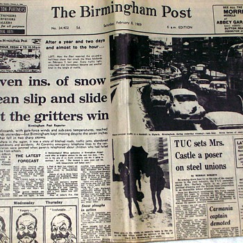1969-snow havoc in the uk-'birmingham post'-feb 8th/21st. - Paper